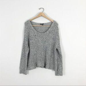 Eileen Fisher large Open Knit Sweater Gray Wool